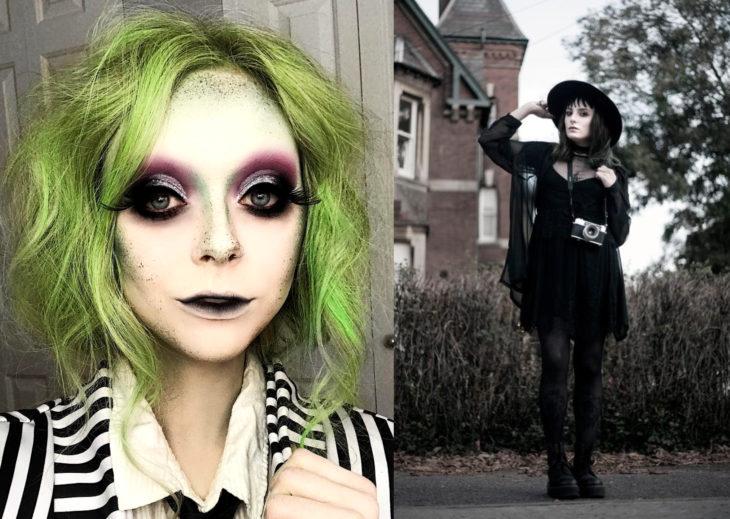 Disfraces de Halloween de los 80; chicas disfrazadas de Beetlejuice y Lydia