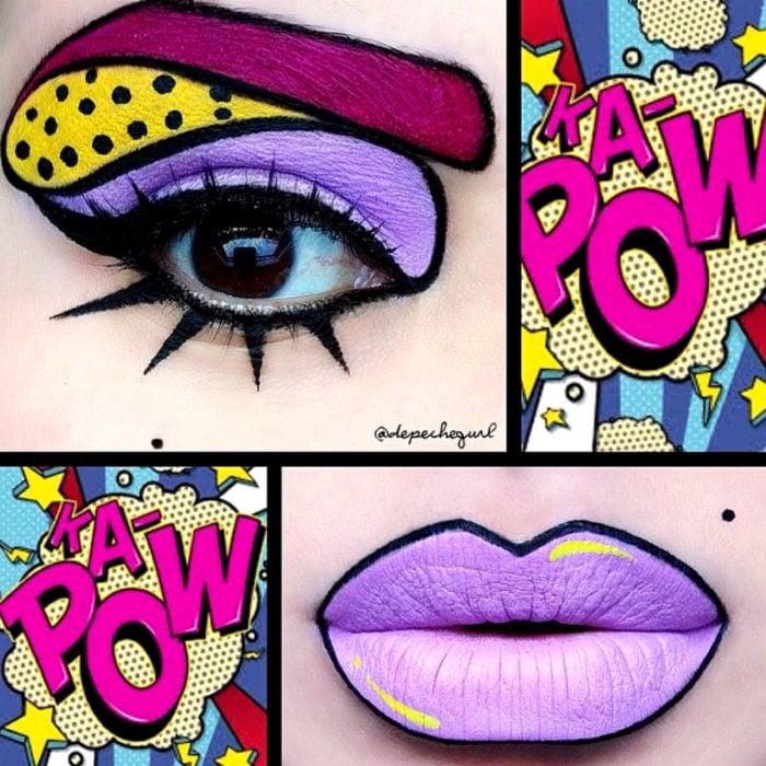 Disfraz de Halloween de comic pop art; mujer con labios pintados de morado y ojos de historieta