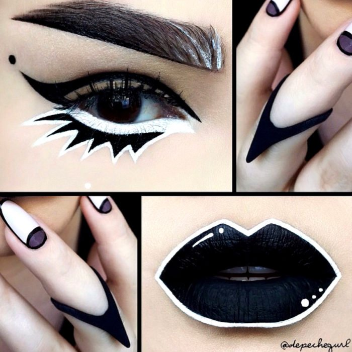 Disfraz de Halloween de comic pop art; mujer con labios y ojos pintados de negro como historieta