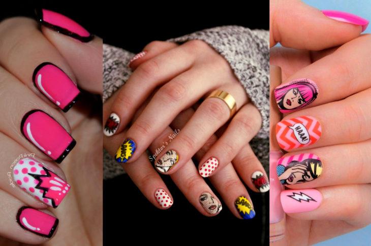 Disfraz de Halloween de comic pop art; uñas pintadas con estilo de historietas