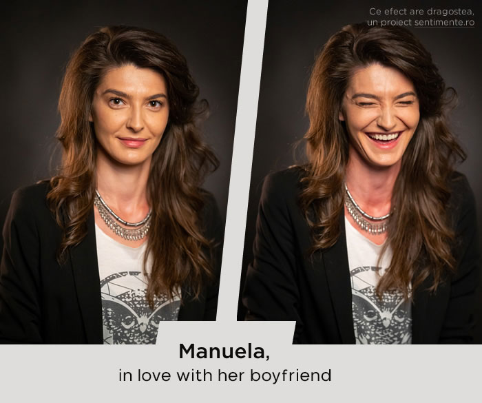 Chica antes y después de reír cuando ve a su novio