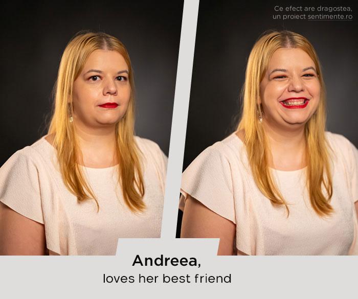 Chica antes y después de reír cuando ve a su mejor amiga