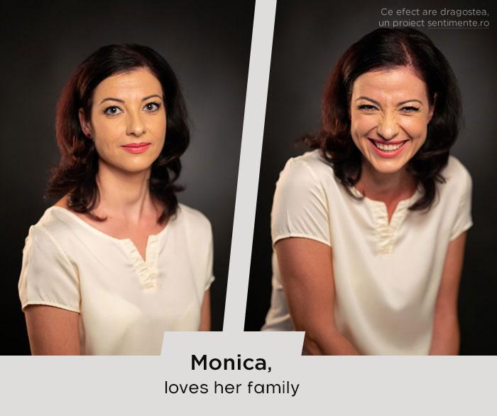 Chica antes y después de reír cuando ve a su a su familia
