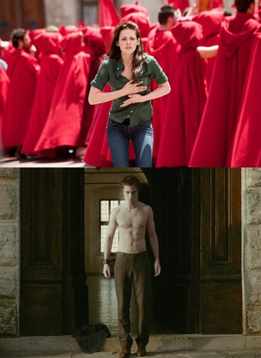 Bella corriendo para salvar a Edward cullen mientras él muestra su torso