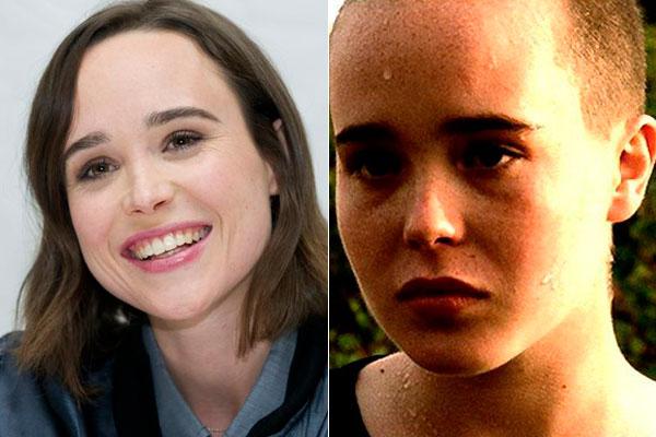 Ellen Pageantes y después de afeitarse el cabello para una actuación