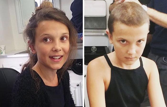 Millie Bobby Brownantes y después de raparse la cabeza para el papel de Eleven en stranger things