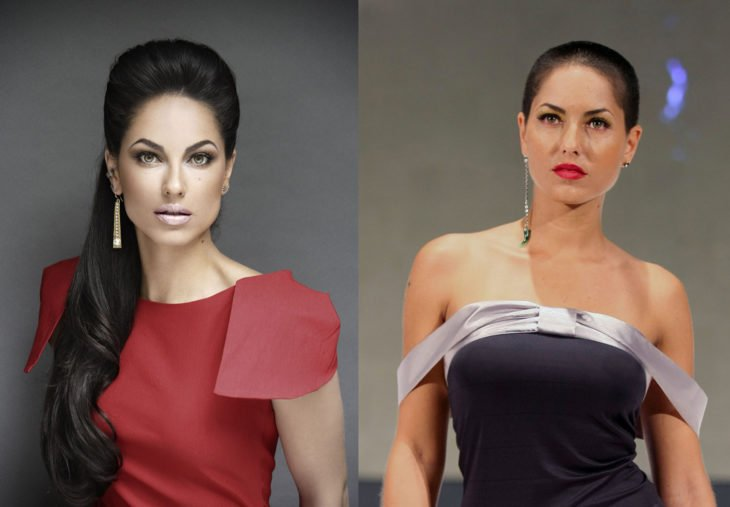 Barbara Mori antes y después de afeitarse la cabeza