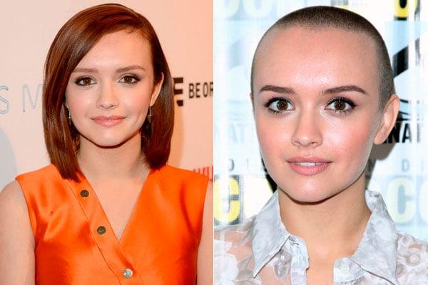 Olivia Cookeantes y después de afeitarse su cabello pelirrojo