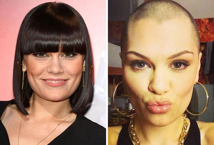 Cantante Jessi J antes y después de afeitarse la cabeza