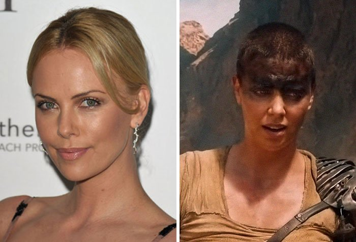 Actriz Charlize Theronantes y después de raparse la cabeza para el papel de fury