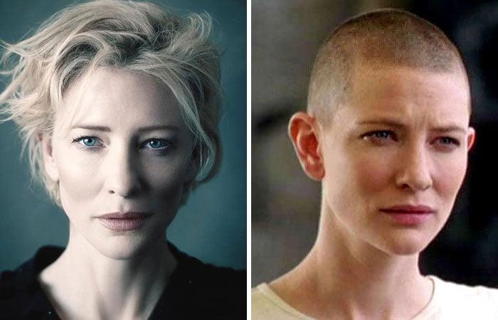 Cate Blanchettantes y después de raparse su cabellera platinada