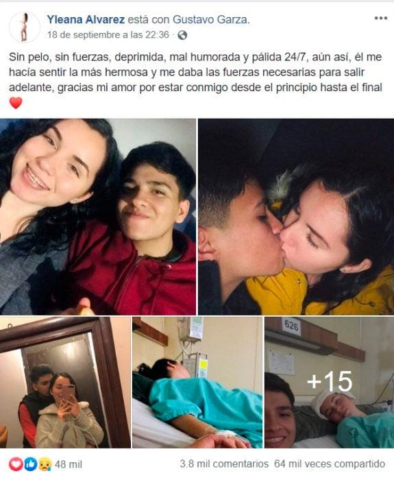 Post Facebook di Gustavo e Yleana