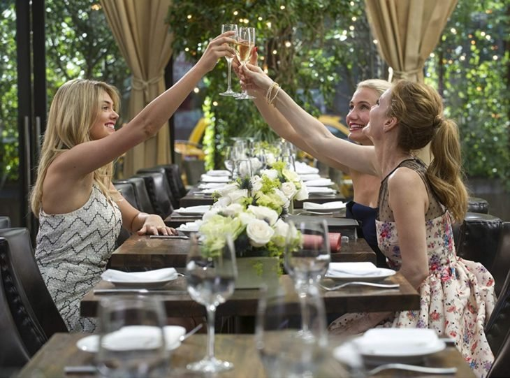 tres mujeres brindan en una mesa arrglada con copas y flores