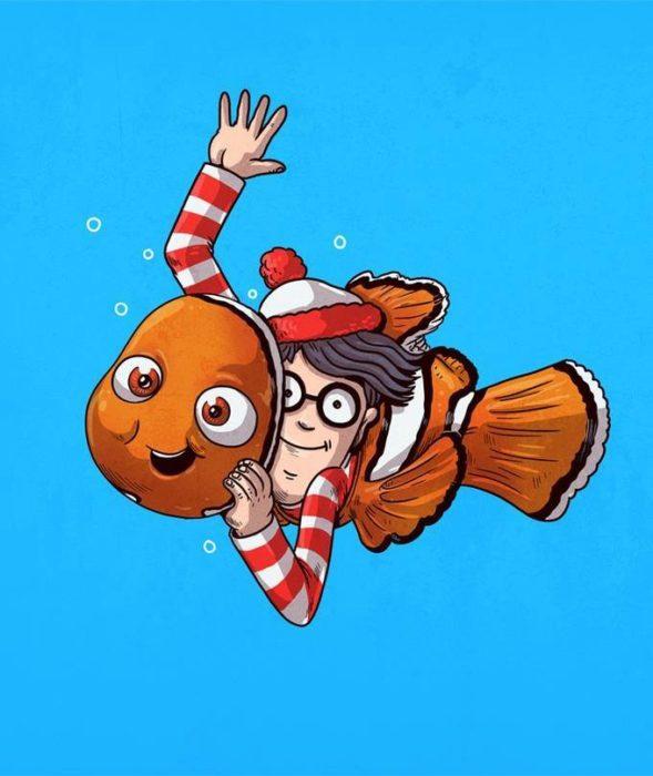 Ilustración de Alex Solis, proyecto Icons Unsmasked, Nemo, Waldo