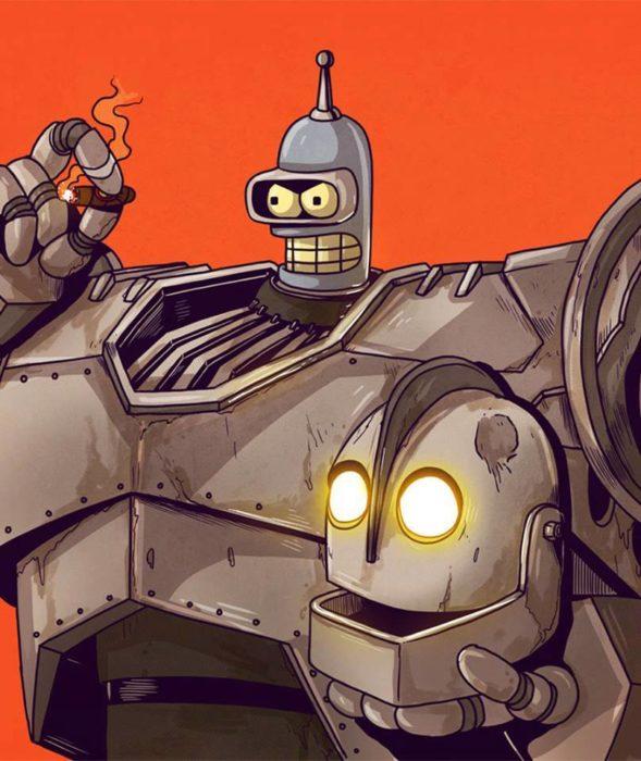 Ilustración de Alex Solis, proyecto Icons Unsmasked, Bender
