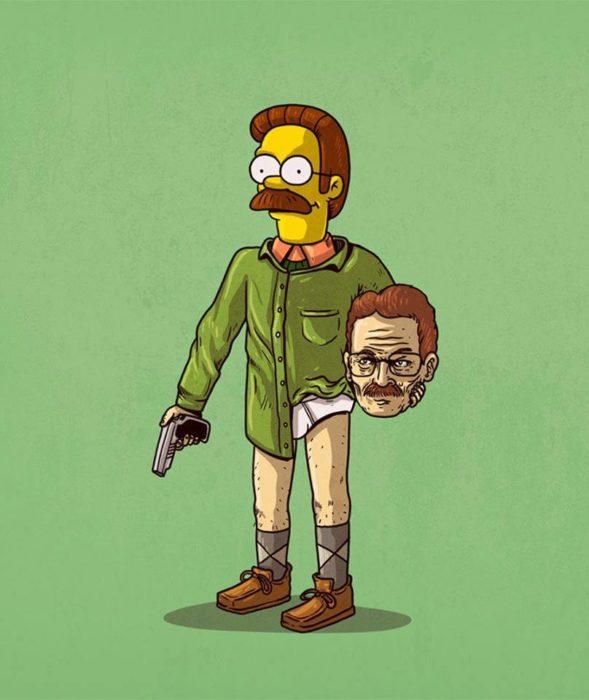 Ilustración de Alex Solis, proyecto Icons Unsmasked, Ned Flanders