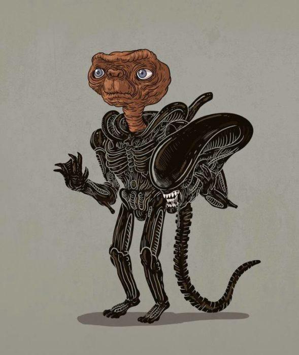 Ilustración de Alex Solis, proyecto Icons Unsmasked, E.T.