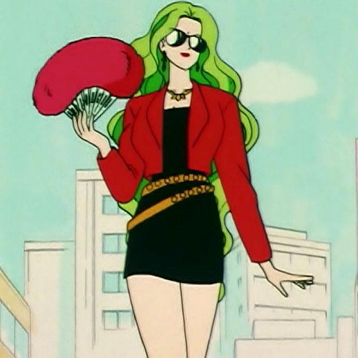 Moda de Sailor Moon; villana esmeralda vestida con saco rojo y vestido negro