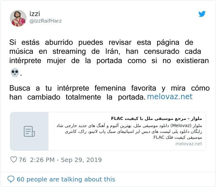 Tuit sobre Página Iraní elimina a mujeres de portadas de discos