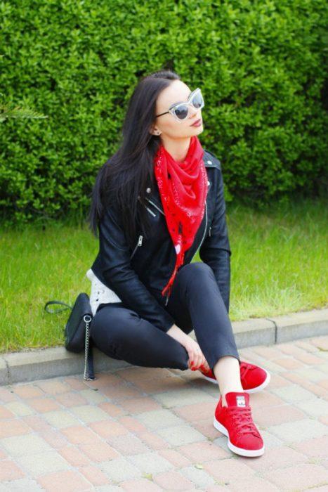 Pashmina color rojo