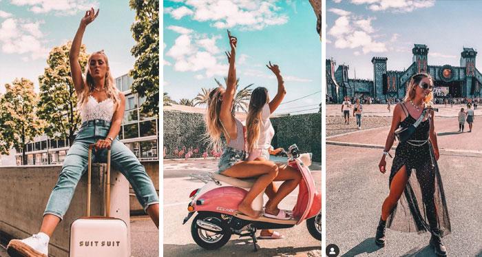 Diferentes fotos de una chica en Instagram que tienen el mismo cielo con nubes en todas