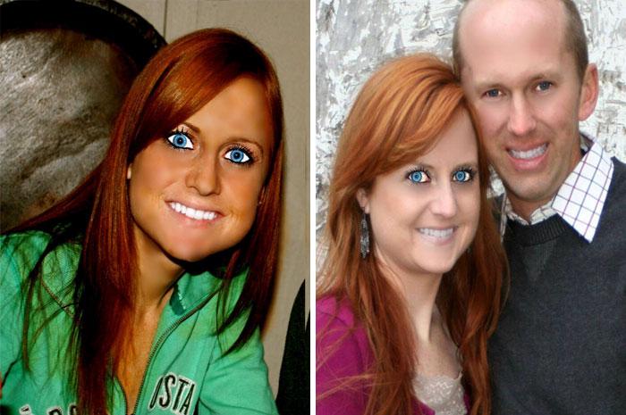 Fotos de una chica editadas con unos enormes ojos de color azul