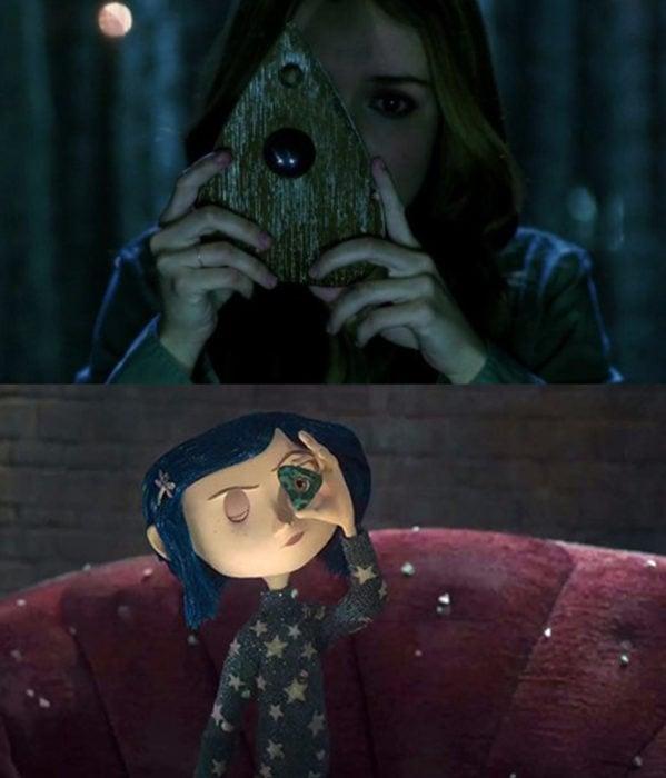 Diferencias entre la película de Oüija y Coraline, ambas viendo a través de un objeto del tablero oüija