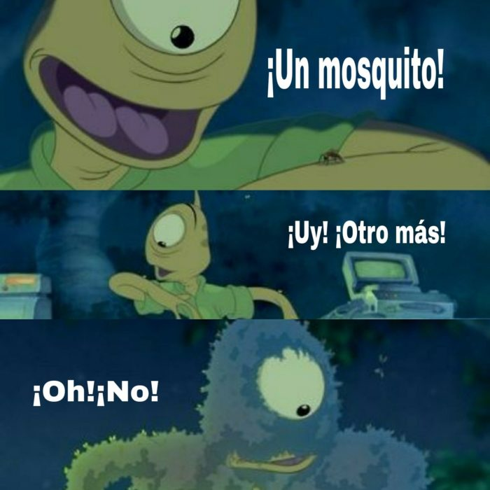 Personaje de Lilo y stitch con mosquitos en su cuerpo