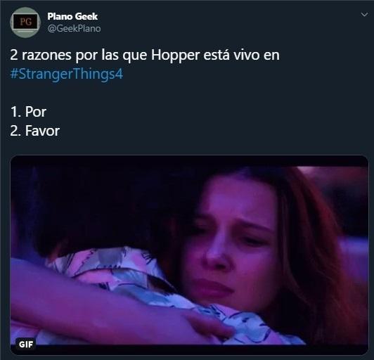 Tuit sobre la cuarta temporada de Stranger Things y el regreso de Hoppe