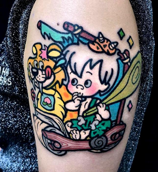 Tatuajes de caricaturas de Cartoon Network; Bam Bam de Los Picapiedra
