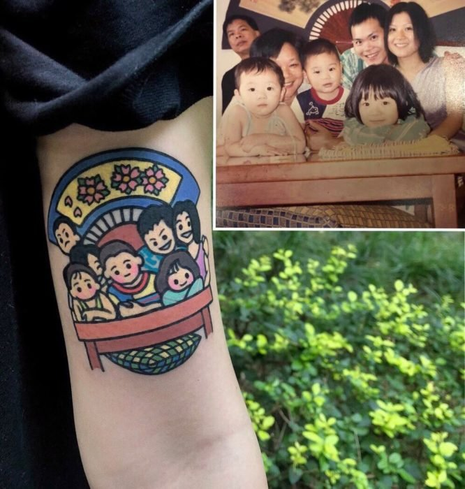 Tatuajes tiernos de Pikka Cool Cool Tattoo; tatuaje kawaii de retrato familiar