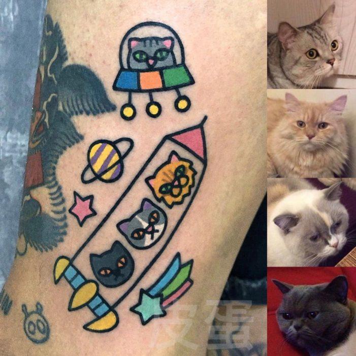 Tatuajes tiernos de Pikka Cool Cool Tattoo; tatuaje kawaii de gatos