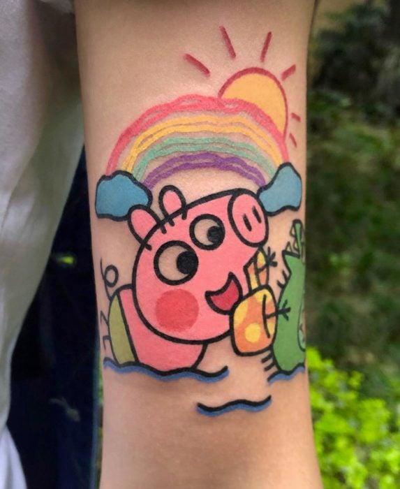 Tatuajes tiernos de Pikka Cool Cool Tattoo; tatuaje kawaii de Pepa Pig