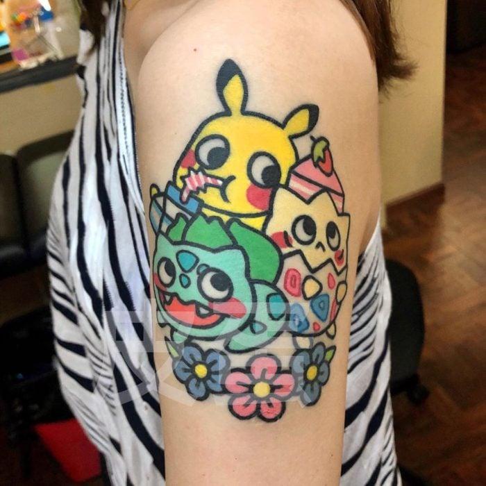 Tatuajes tiernos de Pikka Cool Cool Tattoo; tatuaje kawaii de Pokemon, Pikachu, Bulbasaur y Togepi