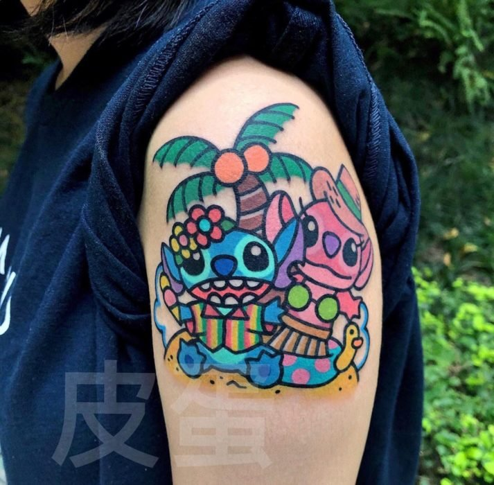 Tatuajes tiernos de Pikka Cool Cool Tattoo; tatuaje kawaii de Lilo y Stitch