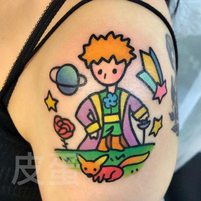 Tatuajes tiernos de Pikka Cool Cool Tattoo; tatuaje kawaii de El Principito y el zorro