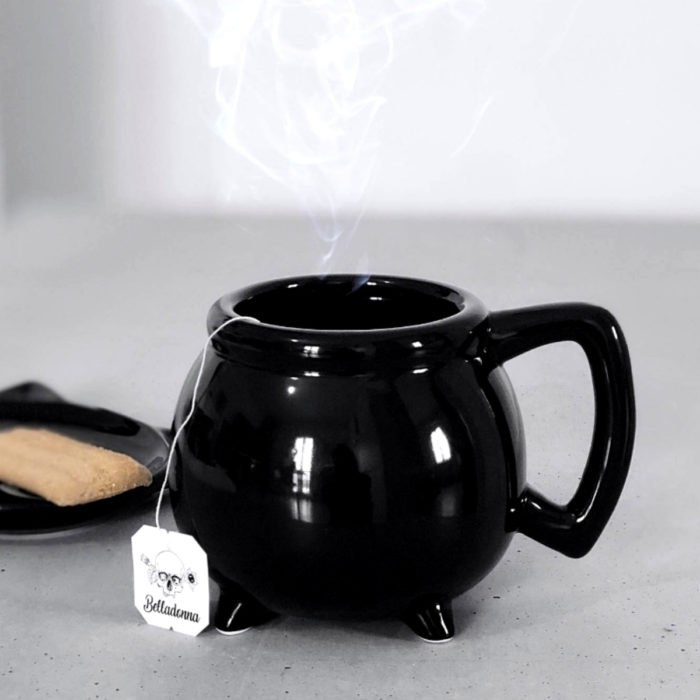 Taza de caldero de bruja, color negro