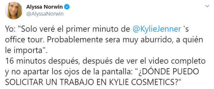 Comentarios en twitter sobre el tour de la oficina de kylie Jenner