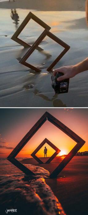 Truco para que puedas tomar fotografías con cuadros en la playa durante la puesta de sol