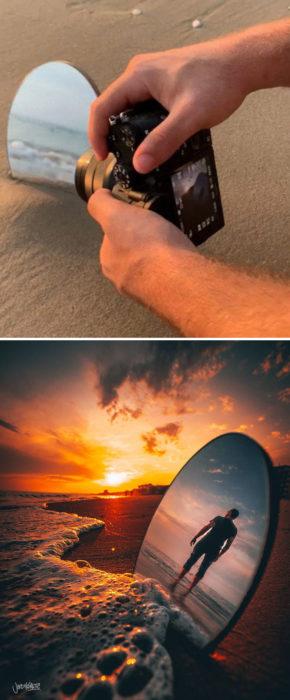 Truco para que puedas tomar fotografías con un espejo en la playa