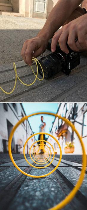 Truco para que puedas tomar fotografías con un alambre de color amarillo u otro color