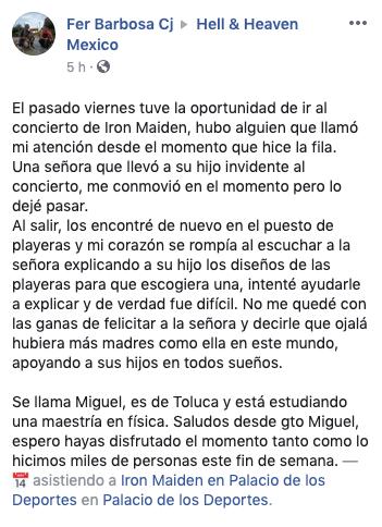 post del usuario Fer Barbosa Cj en donde cuenta la historia de la mujer que llevó a su hijo ciego al concierto de Iron Maiden