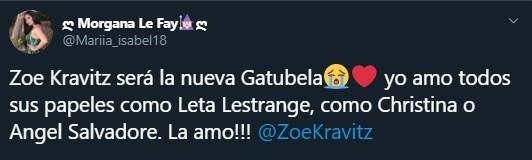 Tuit sobre Zoe Kravitz será Gatubela en la próxima película de Batman