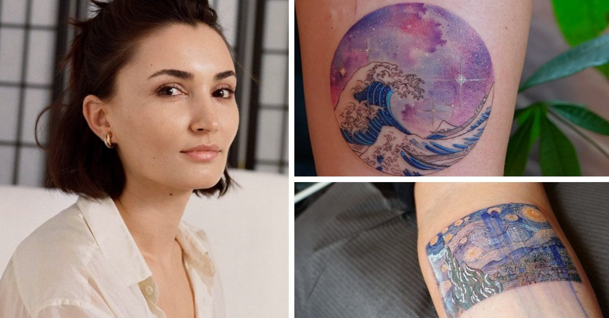 Mujer recrea pinturas famosas y utiliza geometría perfecta en tatuajes