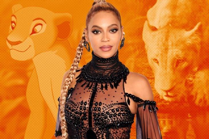 Beyonce posando durante la alfombra roja de la película El Rey León