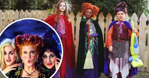 Brujas de 'Hocus Pocus' lograron rejuvenecer; niñas se disfrazan para una sesión de fotos