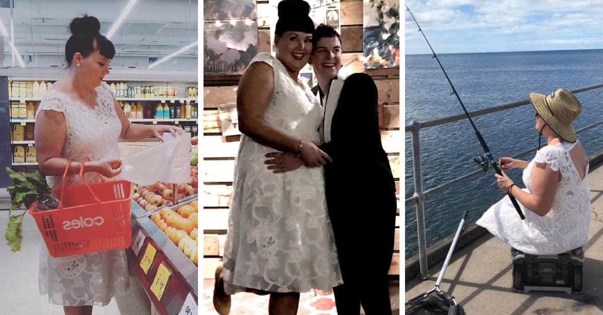 Mujer decide usar su vestido de novia porque gastó mucho
