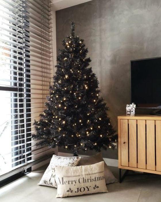 Pino navideño negro con luces integradas