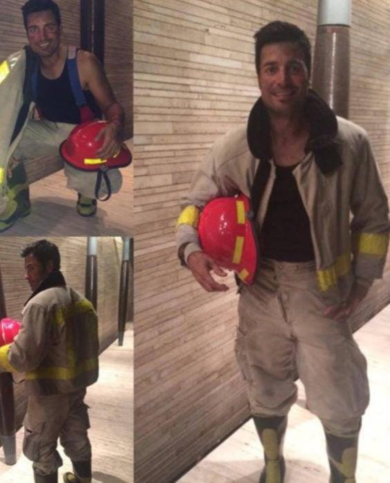Chayanne disfrazado de bombero para Halloween