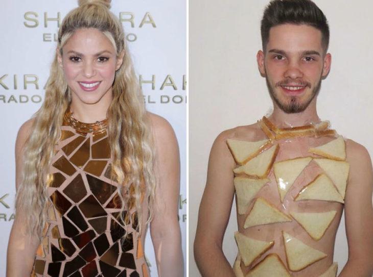 Chico imitando el atuendo de Shakira con panes de molde